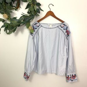 H&M | Floral Embroidery Blue Stripe Blouse Size 14